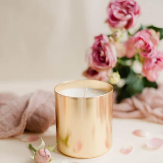 bougie parfumee rose